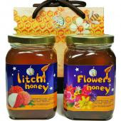 [上喆蜂蜜]玉荷包+百花蜜蜂蜜禮盒組-350g(2瓶裝)